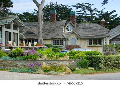 CARMEL, CA -4 SEP 2017- View of beautiful expensive houses with a scenic view overlooking the Pacific Ocean in Carmel-by-the-Sea, a town by Carmel Beach in California.