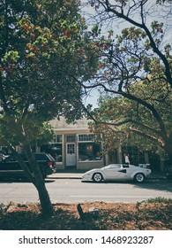 Carmel, CA - August 16, 2017: A white Lamborghini Countach parked on Ocean Avenue in Carmel, CA during car week.