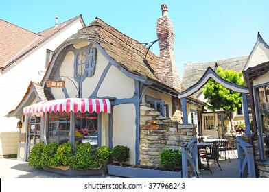 CARMEL CALIFORNIA USA - APRIL 10, 2014 : Tuck Box is a lovely restaurant in Carmel., Monterey County, California,  Carmel is known for being dog-friendly, with numerous hotels, restaurants .