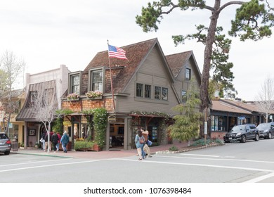 Carmel, California, USA - March 31, 2018: Buildings in Carmel. Founded in 1902, Carmel (Carmel-by-the-Sea ) is a city in Monterey County, California, United States.
