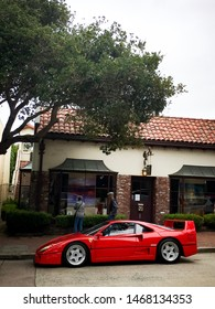 Carmel, CA/USA - August 21,2018: A rare Ferrari F40 parked on the street in Carmel, CA during Monterey car week.