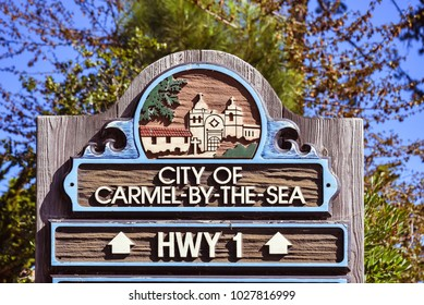 Carmel, CA/USA - Feb. 17, 2018: Marker, City of Carmel by the Sea on Ocean Avenue, Carmel, CA. Carmel is a very popular tourist destination.