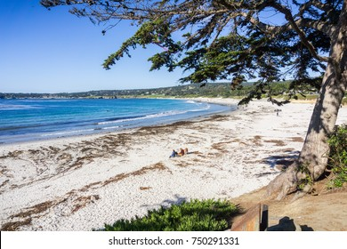 Carmel State Beach on a sunny clear day, Carmel-by-the-sea, Monterey Peninsula, California