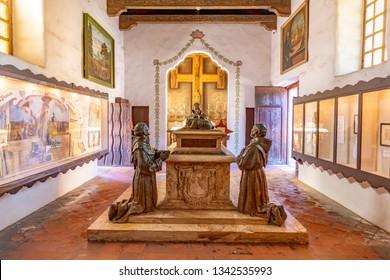 Carmel, USA - MAR 15, 2019:  grave of prior at Carmel Mission San Carlos Borromeo in Carmel, USA. Pope Paul II was worshiping the holy maria at Carmel.