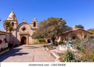 CARMEL, USA - MAR 15, 2019: outside view of Carmel mission in Carmel, the historic mission in California.