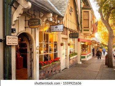 CARMEL, USA, - OCTOBER, 30, 2018: Small stores along the sidewalk in Carmel, California, USA.