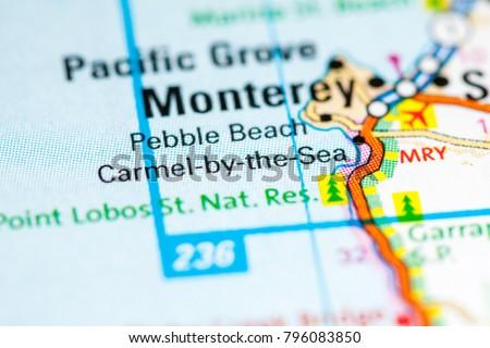Carmelbythe Sea California USA On Map Stockfoto (Jetzt bearbeiten ...