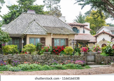 CARMEL-BY-THE-SEA, USA - May 13 2018: Picturesque house in Carmel-by-the-Sea, Monterey Peninsula, California