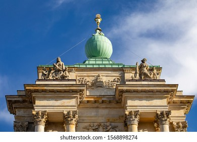 Carmelite Church. Church of the Assumption of the Virgin Mary and of St. Joseph, Detail. Warsaw architecture in the old town. Warszawa, Poland