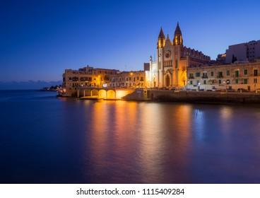 Carmelite Church in the night. Balluta Bay, Malta