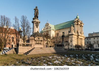 Carmelite Church in Warsaw old town in Poland capital city on a sunny winter day in Central Europe