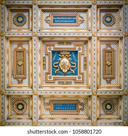 Carmelite Coat of Arms in the ceiling of San Martino ai Monti Church in Rome, Italy. March-25-2018