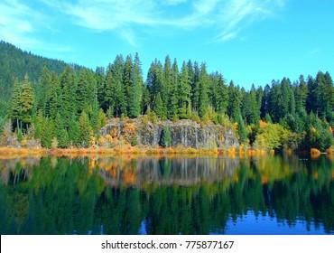 Carmen's Song - Fall view at Carmen Reservoir - McKenzie River - OR