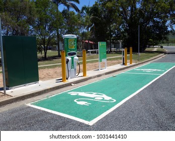 Carmilla, Queensland, Australia-February 10, 2018:  A recharging station for two electric vehicles located in a rural country town in Queensland, Australia