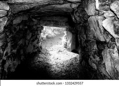 Carn Euny Fogou, Ancient Underground Passage, Carn Euny Iron Age Village, near Sancreed, West Cornwall UK