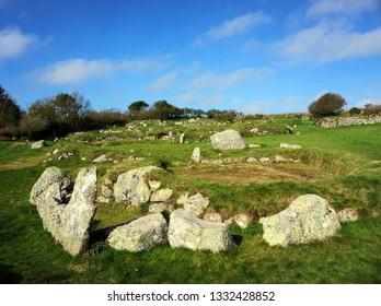 Carn Euny Iron Age Village, Ancient Site near Sancreed, West Cornwall UK