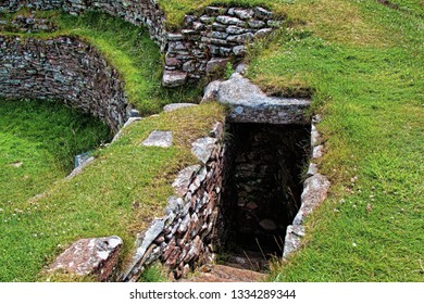 Carn Liath broch, Brora, staircase to gallery and internal walls