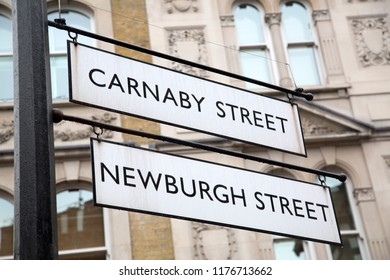 Carnaby and Newburgh Street Sign; London; England; UK
