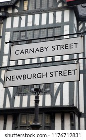 Carnaby and Newburgh Street Signs; London; England; UK