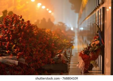Carnations at 20th January monument, Baku, Azerbaijan. Flowers are left on the anniversary of the massacre of Azerbaijani civilians in 1990