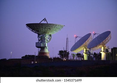 CARNAVON, WA - OCT 21 2019:OTC NASA Satellite Earth Station in Carnarvon Western Australia, built in 1964 to support NASA space missions as tracking station to Gemini, Apollo and Skylab programs.