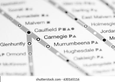 Carnegie Station. Melbourne Metro map.