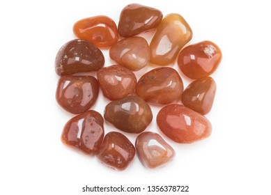 Carnelian gemstones isolated on white background