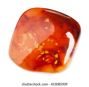 Carnelian semiprecious stone isolated on white with clipping path
