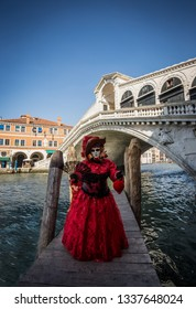 Carneval time in Venezia, masked person standing in front of famous Rialto bridge.