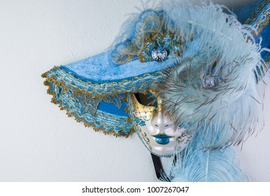 Carnival beautiful venetian mask on white background.