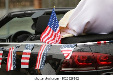 Carnival car decorated with the American flag