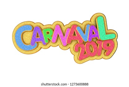 Carnival or carnaval gold colorful glitter texture font. 2019 Rio de Janeiro holiday card design template. Isolated