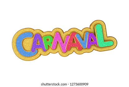 Carnival or carnaval gold colorful glitter texture font. Rio de Janeiro holiday card design template. Isolated