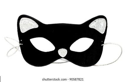 Carnival cat mask on white background