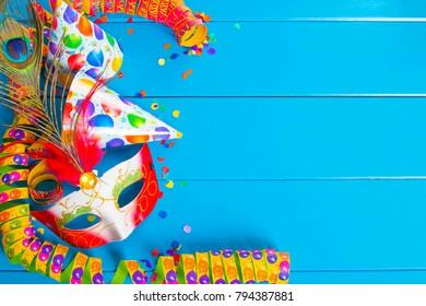 Carnival decoration on blue background