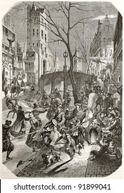 Carnival feast along the streets of an European northern town. After 17th century print by unknown author, published on Magasin Pittoresque, Paris, 1845