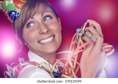 carnival female celebrating with confetti