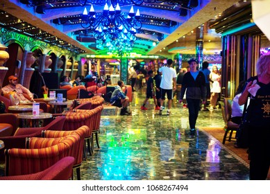 Carnival Liberty cruise ship interior. Bahamas January 2018