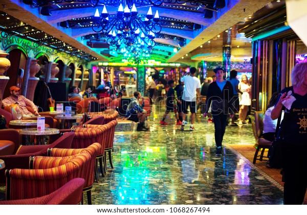 Carnival Liberty Cruise Ship Interior Bahamas Stock Photo