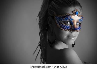 In carnival mask