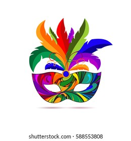 Carnival mask with colorful feathers. Masquerade illustration