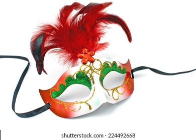 Carnival mask with feathers and diamond isolated on white