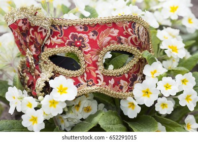carnival mask and flowers