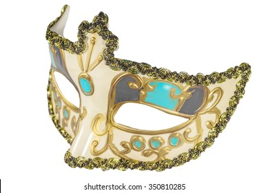 Carnival mask gold-painted curlicues decoration azure gray inserts half mask isolated white background side view
