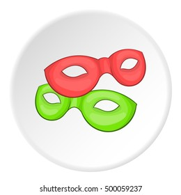 Carnival mask icon in cartoon style on white circle background. Events and parties symbol  illustration