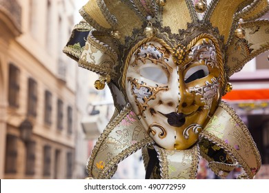 Carnival mask on the street of Venice. Italy