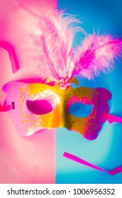 Carnival mask on two colors background