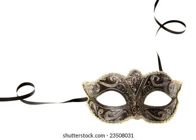 carnival mask over white background