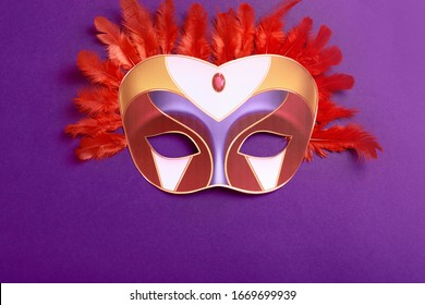 Carnival mask with red color bird feather on purple background