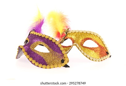 carnival masks isolated on white background